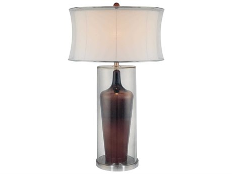 Minka Lavery Ambience Clear / Brown White Glass Buffet Lamp MGO105130