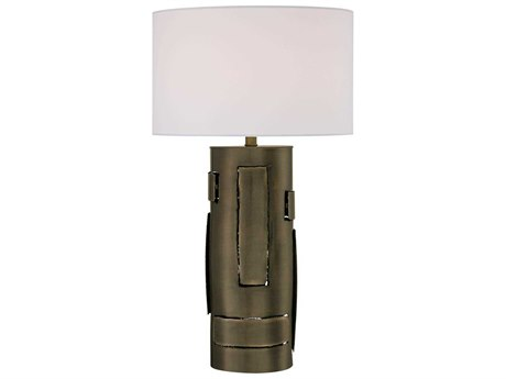 Minka Lavery Ambience Dark Antique Brass Pure White Linen Buffet Lamp MGO130540
