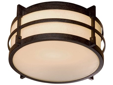 Minka Lavery Andrita Court Textured French Bronze Glass Outdoor Ceiling Light MGO72029179PL