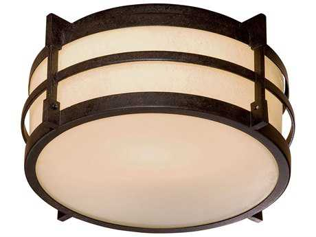Minka Lavery Andrita Court Textured French Bronze 11'' Wide Glass Flush Mount Light