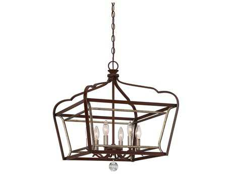 Minka Lavery Astrapia Dark Rubbed Sienna with Aged Silver 20'' Wide Pendant MGO4348593