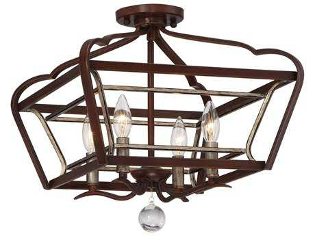 Minka Lavery Astrapia Dark Rubbed Sienna with Aged Silver 16'' Wide Semi-Flush Mount MGO4347593