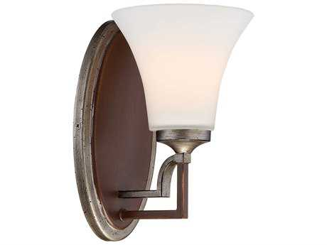 Minka Lavery Astrapia Dark Rubbed Sienna with Aged Silver Glass Vanity Light