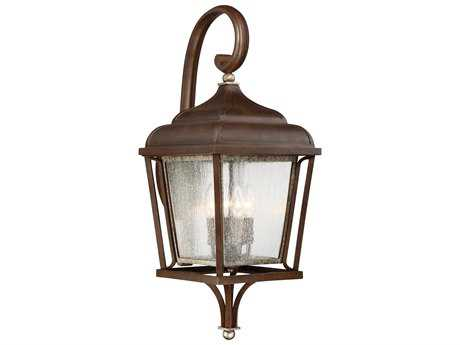 Minka Lavery Astrapia Dark Rubbed Sienna with Aged Silver Glass Outdoor Wall Light