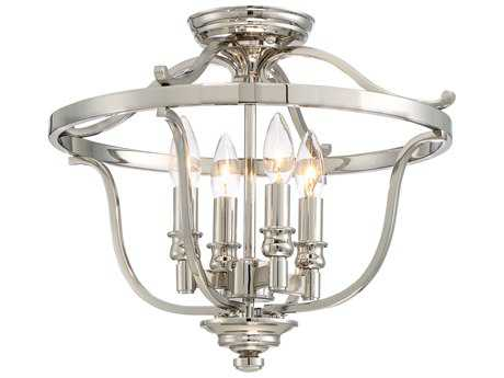 Minka Lavery Audrey Point Polished Nickel Semi-Flush Mount