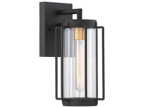 Minka Lavery Avonlea Black / Gold 1-light 13'' High Glass Outdoor Wall Light