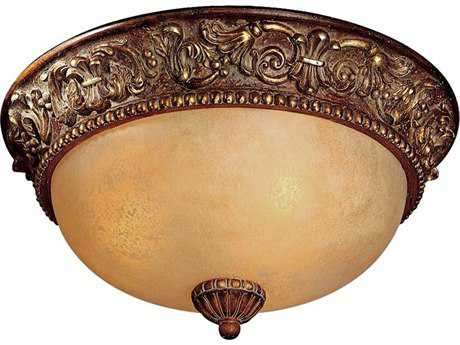 Minka Lavery Belcaro Walnut 15'' Wide Glass Flush Mount Light MGO959126
