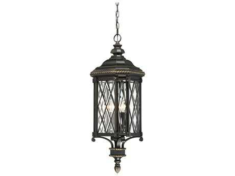 Minka Lavery Bexley Manor Black with Gold Highlights Glass Outdoor Hanging Light MGO9324585