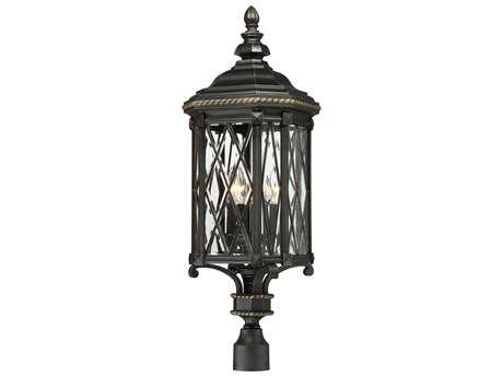 Minka Lavery Bexley Manor Black with Gold Highlights Glass Outdoor Post Light MGO9326585