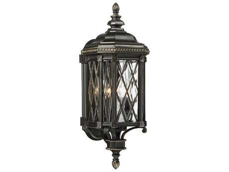 Minka Lavery Bexley Manor Black with Gold Highlights Glass Outdoor Wall Light MGO9321585