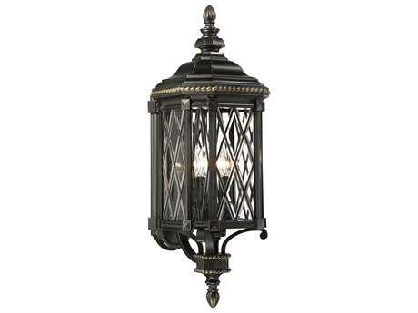 Minka Lavery Bexley Manor Black with Gold Highlights Glass Outdoor Wall Light MGO9322585