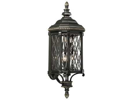 Minka Lavery Bexley Manor Black with Gold Highlights Glass Outdoor Wall Light MGO9323585