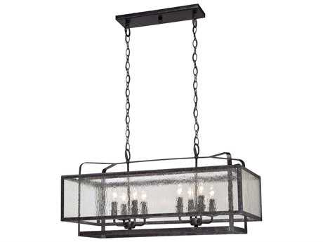 Minka Lavery Camden Square Aged Charcoal 15'L x 32'' Wide Glass Island Light MGO4878283