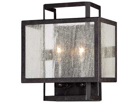 Minka Lavery Camden Square Aged Charcoal Glass Wall Sconce MGO4870283