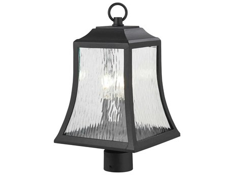 Minka Lavery Cassidy Park Black Glass Outdoor Post Light
