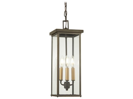 Minka Lavery Casway Oil Rubbed Bronze / Gold Highlight Glass Outdoor Hanging Light