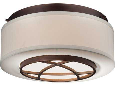 Minka Lavery City Club Dark Brushed Bronze 15'' Wide Glass Flush Mount Light MGO4952267B
