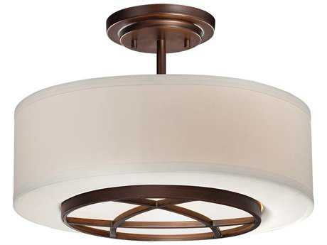 Minka Lavery City Club Dark Brushed Bronze 15'' Wide Glass Semi-Flush Mount MGO4951267B