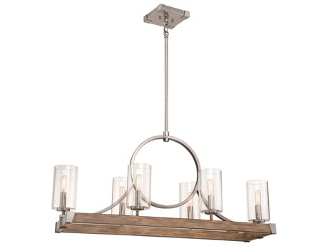 Minka Lavery Country Estates Sun Faded Wood / Brushed Nickel 6-light 38'' Wide Glass Island Light