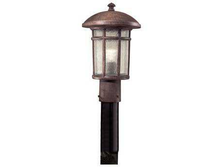 Minka Lavery Cranston Vintage Rust Glass Outdoor Post Light