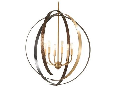 Minka Lavery Criterium Aged Brass / Textured Iron 30'' Wide Medium Chandelier