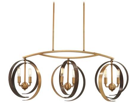 Minka Lavery Criterium Aged Brass / Textured Iron 40'' Wide Island Light MGO4623099