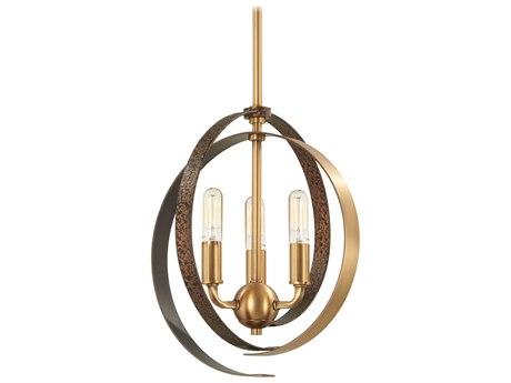 Minka Lavery Criterium Aged Brass / Textured Iron 12'' Wide Mini Chandelier MGO4622099