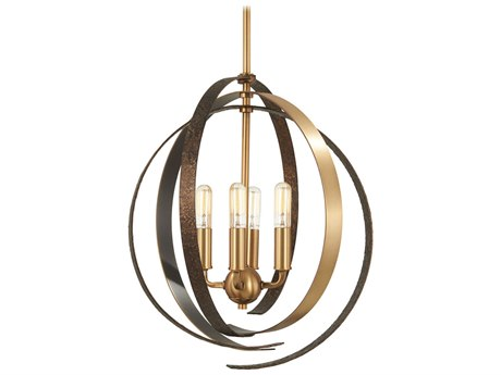 Minka Lavery Criterium Aged Brass / Textured Iron 16'' Wide Mini Chandelier