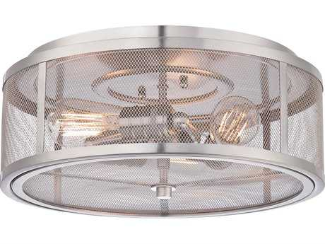 Minka Lavery Downtown Edison Brushed Nickel 15'' Wide Industrial Flush Mount Light MGO413384