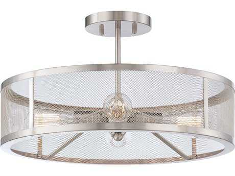 Minka Lavery Downtown Edison Brushed Nickel 19'' Wide Industrial Semi-Flush Mount MGO413484