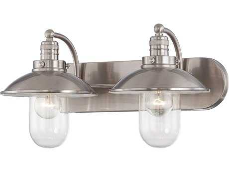 Minka Lavery Downtown Edison Brushed Nickel Glass Industrial Vanity Light MGO513284