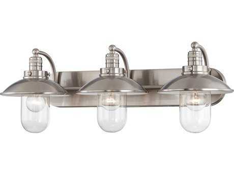 Minka Lavery Downtown Edison Brushed Nickel Glass Industrial Vanity Light MGO513384