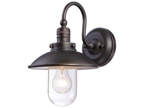 Minka Lavery Downtown Edison Oil Rubbed Bronze with Gold Highlights Glass Outdoor Wall Light