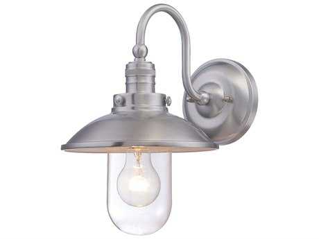 Minka Lavery Downtown Edison Brushed Aluminum Industrial Glass Outdoor Wall Light