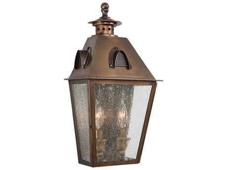 Minka Lavery Edenshire English Brass Glass Outdoor Wall Light MGO72420212