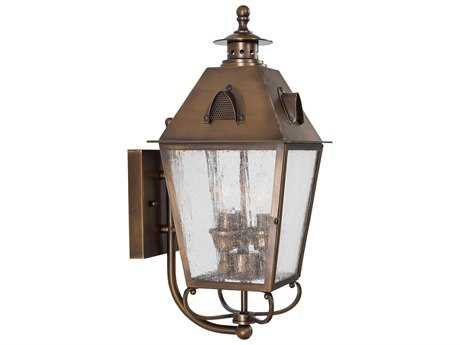 Minka Lavery Edenshire English Brass Glass Outdoor Wall Light