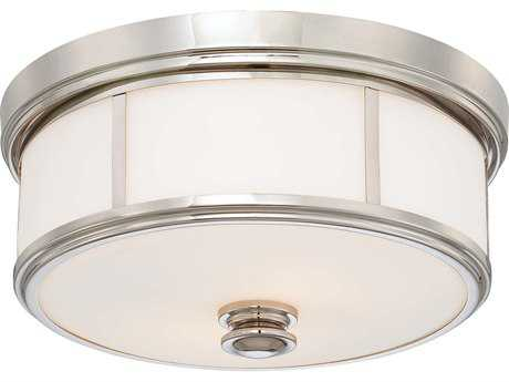Minka Lavery Polished Nickel 13'' Wide Glass Flush Mount Light MGO4365613