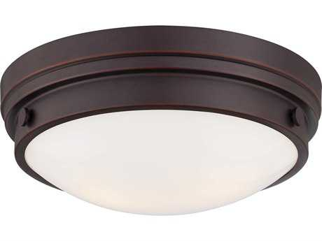 Minka Lavery Lathan Bronze 13'' Wide Glass Flush Mount Light MGO823167