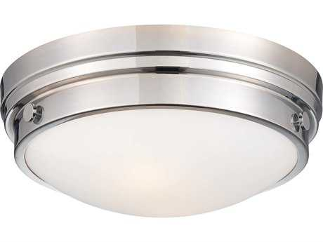 Minka Lavery Chrome 13'' Wide Glass Flush Mount Light MGO82377