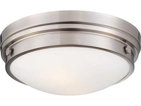 Minka Lavery Brushed Nickel 13'' Wide Glass Flush Mount Light