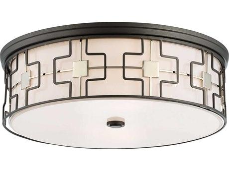 Minka Lavery Dark Gray with Polished Nickel 16'' Wide Glass Flush Mount Light