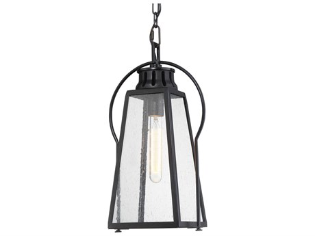 Minka Lavery Halder Bridge Matte Black 1-light Glass Outdoor Hanging Light