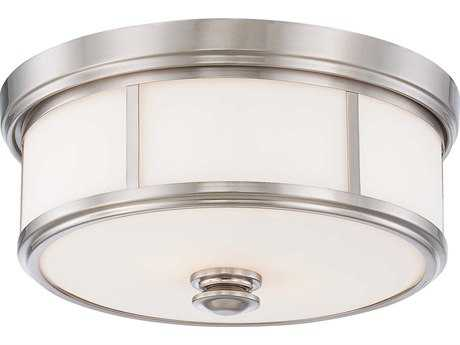 Minka Lavery Harbour Point Brushed Nickel 13'' Wide Glass Flush Mount Light