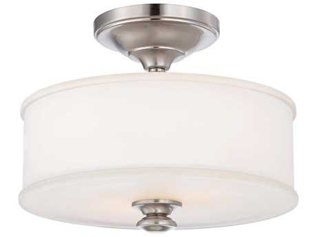 Minka Lavery Harbour Point Brushed Nickel 13'' Wide Glass Semi-Flush Mount MGO417284