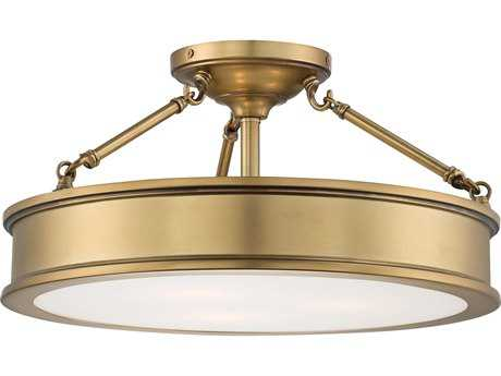 Minka Lavery Harbour Point Liberty Gold 19'' Wide Glass Semi-Flush Mount MGO4177249