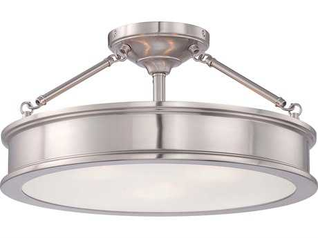 Minka Lavery Harbour Point Brushed Nickel 19'' Wide Glass Semi-Flush Mount