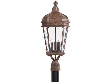 Minka Lavery Harrison Vintage Rust Glass Outdoor Post Light