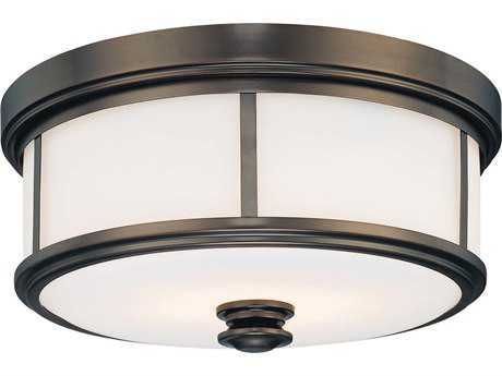 Minka Lavery Harvard Court Bronze 13'' Wide Glass Flush Mount Light MGO4365281