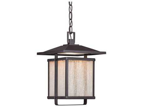 Minka Lavery Hillsdale Dorian Bronze Glass LED Outdoor Hanging Light