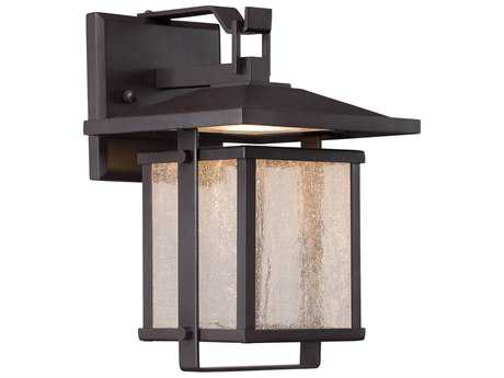 Minka Lavery Hillsdale Dorian Bronze Glass LED Outdoor Wall Light